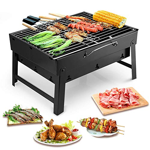 (KESS Barbecue Grill Portable BBQ Charcoal Grill Smoker Grill for Outdoor Garden Grill Cooking Table Camping Hiking Picnics Backpacking)
