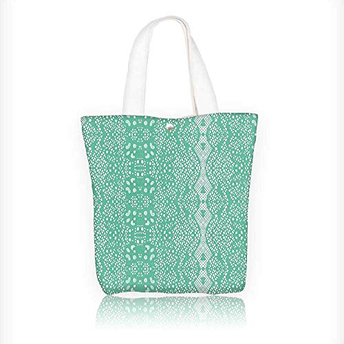 Canvas Beach Bags Classic Lace with Details FeminineArtsy Teal Totes for Women Zippered Beach Shoulder Bag W16.5xH14xD7 INCH