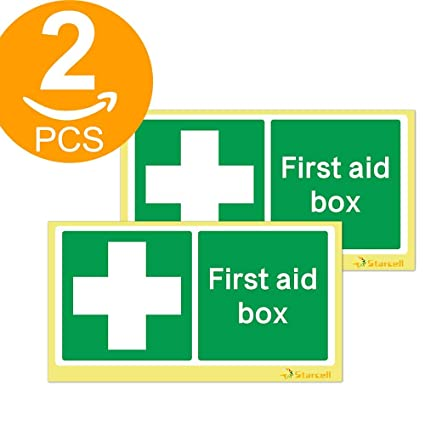 FIRST AID SIGN  100mm X 100mm SELF-ADHESIVE  PACK OF 4