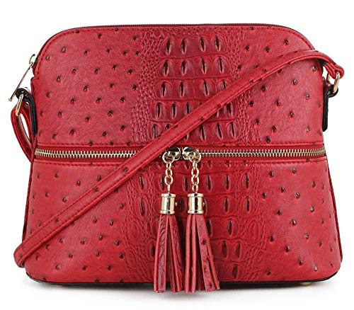 SG SUGU Crocodile Pattern Lightweight Medium Dome Crossbody Bag with Tassel | RD1