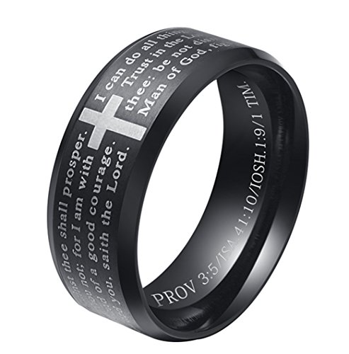 ALEXTINA Men's 8MM Stainless Steel Bible Verse Christian Lord's Prayer Cross Ring Wedding Band Black Size 9
