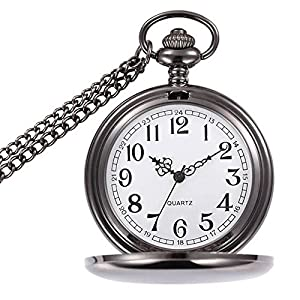 "Powshop Classic Smooth Vintage Pocket Watch, Steel Men Pocket Watch with 14""Chain, Gift Box"
