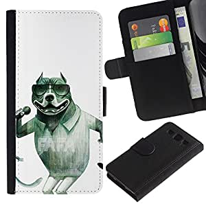 A-type (Singer Sunglasses Pit-Bull Funny) Colorida Impresión Funda Cuero Monedero Caja Bolsa Cubierta Caja Piel Card Slots Para Samsung Galaxy S3 III i9300 i747