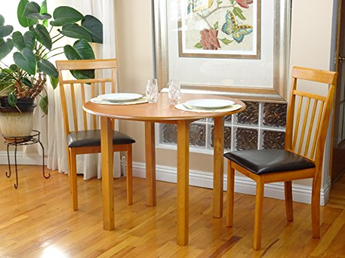 (Rattan Wicker Furniture Dining Kitchen Set 3 Pcs Classic Round Table and 2 Solid Wooden Chairs Warm Maple Finish)