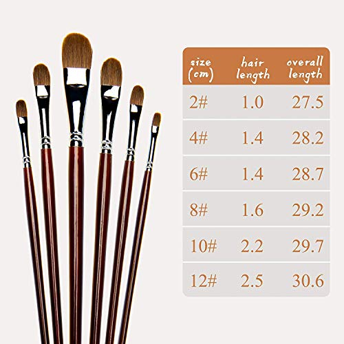 Red Pure Weasel Sable Hair Artist Brushes Filbert Brush Set For Acrylic Oil Gouche and Watercolor Painting Wooden Handle 6Pcs