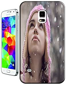 Under Snowing Beautiful with a pink Hat Sexy Girl cell phone cases for Samsung Galaxy S5 i9600