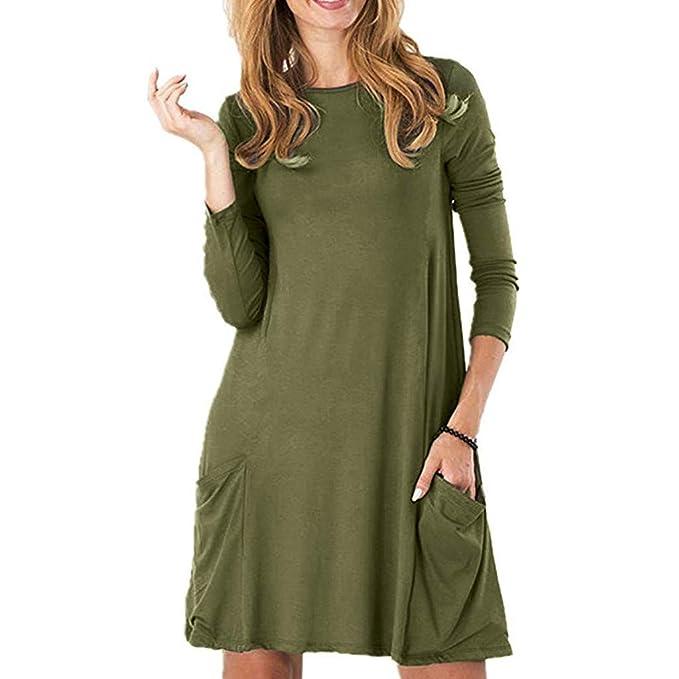 Women's Elegant Solid Long Sleeve O Neck Pockets Swing Dresses, Smony Fashion Comfortable Loose Hem T Shirt Tunic Dress, UK Plus Size 8 18