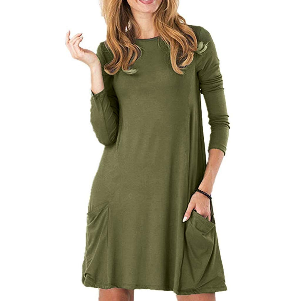 G-Real 2019 New Casual Women's Casual Pockets Plain Flowy Simple Swing T-Shirt Loose Dress Army Green