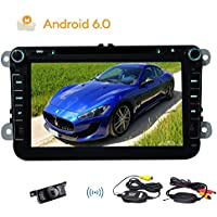 Wireless Backup Camera!!New Android 6.0 Stereo System Quad-core GPS Navigation 2din Car DVD Player with Canbus for Steering wheel control Wifi Dongle Mirror Link Function BT Head Unit support USB/SD