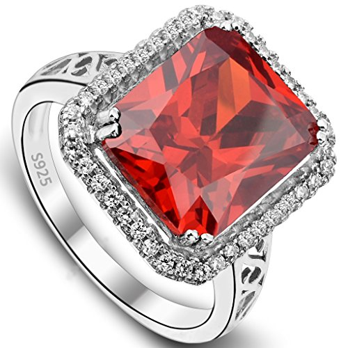 Ring Cocktail Radiant - EVER FAITH Women's 925 Sterling Silver 5 Carats Radiant Cut CZ Party Statement Ring Orange-Red - Size 7