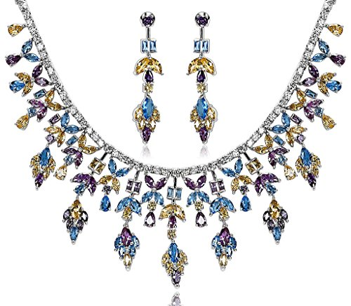 Epinki Silver Plated Ear Of Leaf CZ Crystal Yellow Purple Blue Necklace Stud Earring Jewelry Set by Epinki