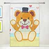 JIUMEI 55 Inch Wide x 78 Inch Length Window Curtain Panel For Living Room,Anime Cartoon Cute Teddy Bear,Colorful Sheer Curtains Door Curtains Polyester Fabric Review