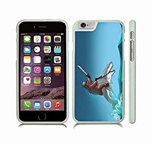 iStar Cases? iPhone 6 Plus Case with Bear Riding a Shark, Funny Design, Grizzly Bear with Helmet and Sword, Riding a Shark , Snap-on Cover, Hard Carrying Case (White)