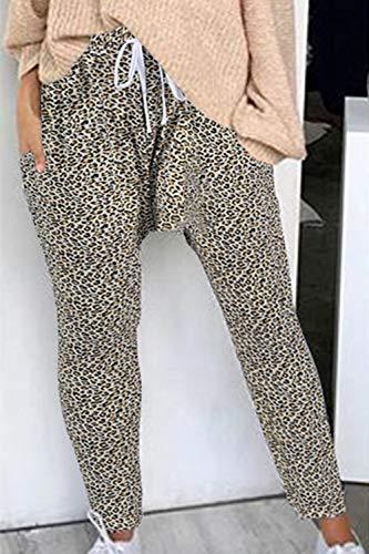 Printemps Automne Kaki Casual Sportswear Léopard Pantalon Fasumava Cordon Femme Décontracté Imprimé q4taaE