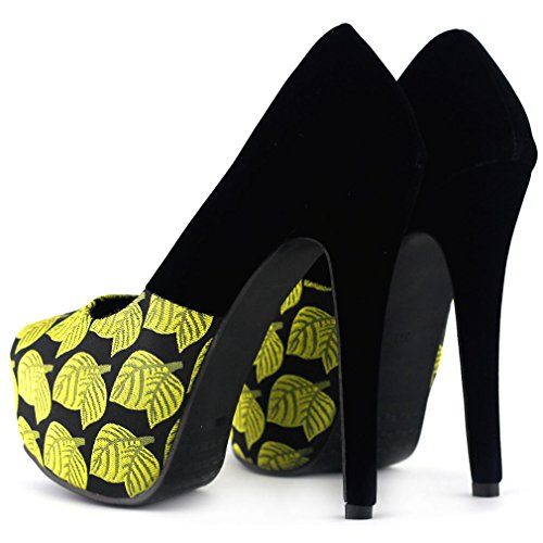 Show Story nuevo negro Leaf Print oculto plataforma High talón Stiletto bombas, lf80825 amarillo