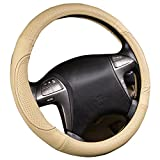 New Arrival- CAR PASS Line Rider Universal Fit Delux Leather Steering Wheel Cover,perfect fit for suvs,sedans,vans,trucks( Beige)