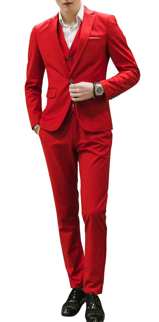 MOGU Mens Suits Slim Fit 3 Piece US Size 36 Bright Red