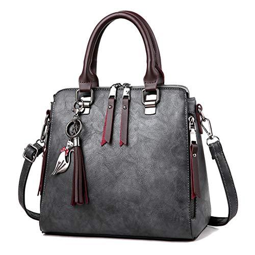 capacité bandoulière grande cuir de en à Femmes PU Sacs Sac bandoulière Tote à Grey Lady Sacs luxe à main Casual qpF1w1gZ