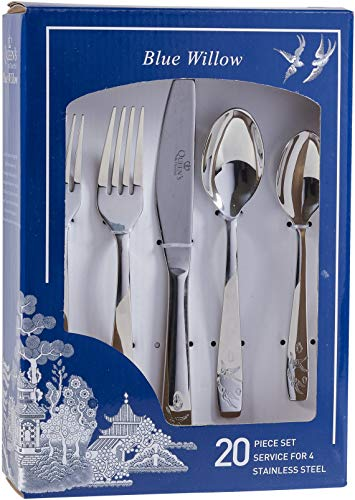 (Churchill Blue Willow 20 Piece Stainless Steel Cutlery Set )