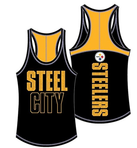 5th & Ocean NFL Pittsburgh Steelers Women's Baby Jersey Racer Back Tank Top with Contrasting Colors, Large, Black
