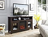 New 58 Inch Wide Highboy Fireplace Television Stand in Traditional Brown Finish