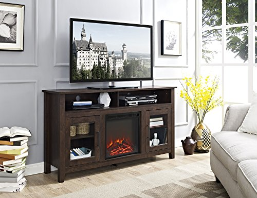 New 58 Inch Wide Highboy Fireplace Television Stand in Traditional Brown Finish by Home Accent Furnishings