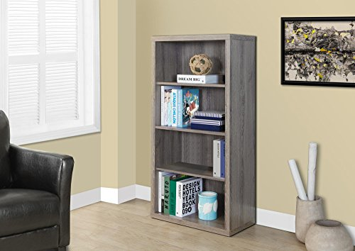 - Monarch Specialties Dark Taupe Reclaimed-Look Bookcase/Adjustable Shelves, 48-Inch