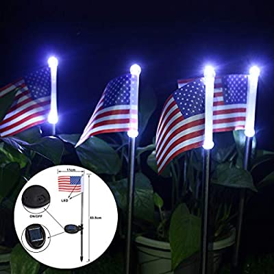 Solar Power Clearance , 2PC Solar Light Power American Flag LED Outdoor Garden Path Landscape Lamp Decor by Little Story