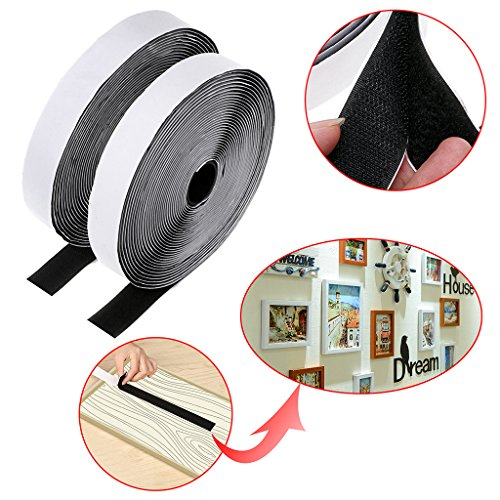 Sumnacon Hook and Loop Tape Roll Self Adhesive, 33 Feet 2 Rolls Fastening Tape Sticky Back Fabric Fastener Strips For Hanging Picture & Craft Projects(Black)