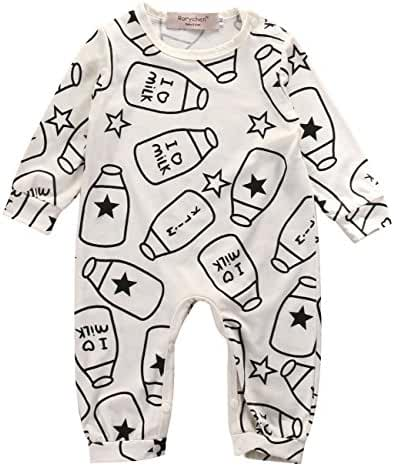 Baby Boys Girls I LOVE MILK Cute Rompers Toddler One Piece Bodysuits Outfit