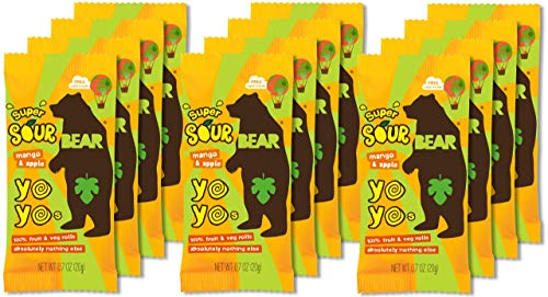 Fruit Snacks Sour Apple - BEAR Sour - Real Fruit Yoyos - Mango-Apple - 0.7 Ounce (12 Count) - No added Sugar, All Natural, non GMO, Gluten Free, Vegan - Healthy on-the-go snack for kids & adults