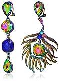 Betsey Johnson Womens Oil Slick Peacock Non-Matching Earrings