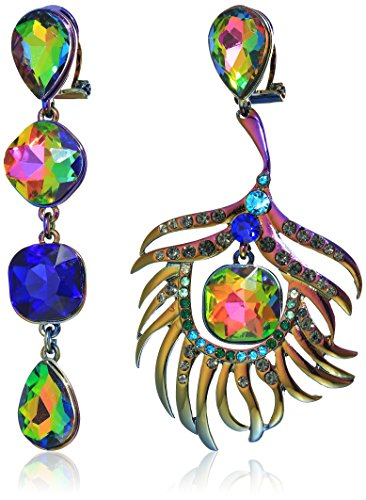 Betsey Johnson Critters Colorful Mismatched Peacock Drop Earrings, Multi, One Size