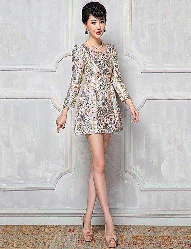 GSP-Damen Kleid - Übergrößen Übergröße / Leger Blumen Mini Polyester Rundhalsausschnitt