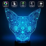 3D Cat Lamp, Optical Illusion Night Light for Nursery / Decor / Bedroom, 7 Colors Changing Cat Toys and Gifts for Kids / Baby / Birthday by YKL WORLD