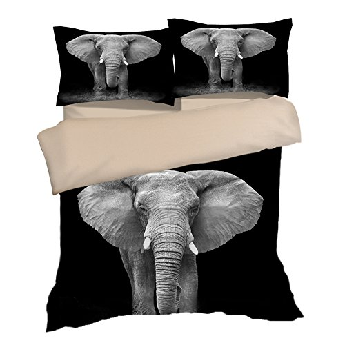 Fantastic Black Elephants Cotton Microfiber 3pc 80''x90'' Bedding Quilt Duvet Cover Sets 2 Pillow Cases Full Size by DIY Duvetcover