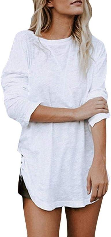 DOGZI Camisas Mujer Color sólido Largas Tops Mujer Primavera Largas Camisetas Mujer Manga Larga Algodon Tallas Grandes Mujer Fiesta Blusas Mujer Fiesta: Amazon.es: Ropa y accesorios