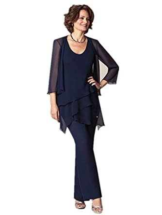 Fenghuavip Scoop Neck 3 4 Sleeves Navy Chiffon Bridal Mother Pants