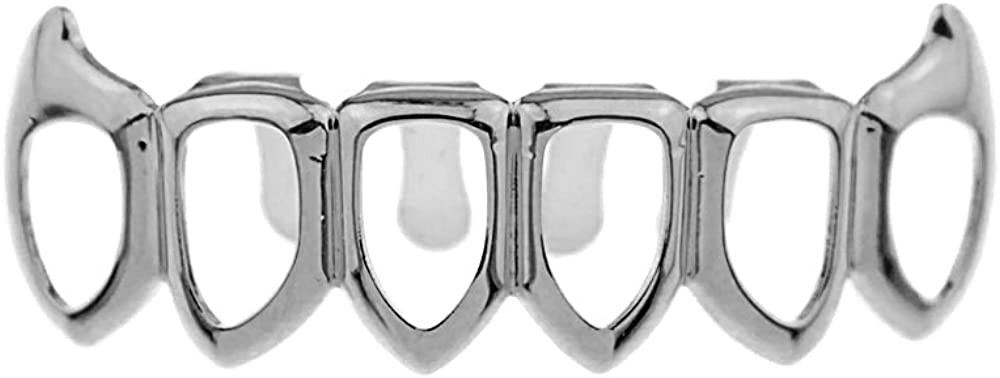 Bling Cartel Open Face Fang Grillz Six Tooth Lower Row Silver Tone Bottom Vampire Teeth Hip Hop Mouth Grills
