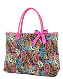Belvah Quilted Multi Paisley Large Tote Bag (Navy/ Fuchsia)