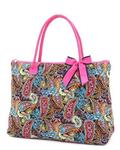 Belvah Quilted Multi Paisley Large Tote Bag (Navy/ Fuchsia), Bags Central