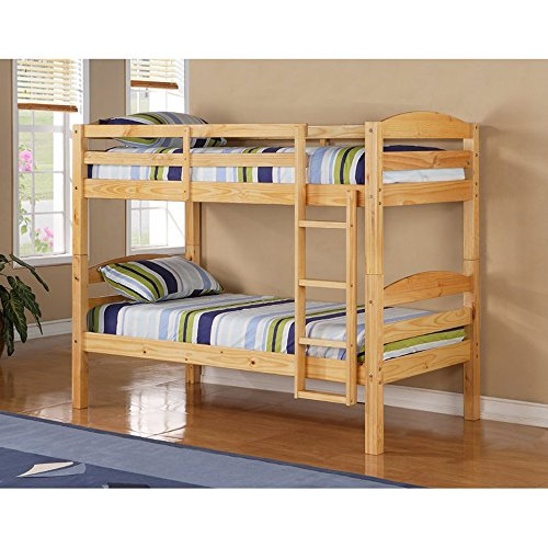 Twin Bunk Bed Frame – Twin Over Twin Size Wooden Bunk Bed with Ladder – Convertible to 2 Beds – Kids Toddlers Room Furniture – Mattresses Not Included! (Natural)
