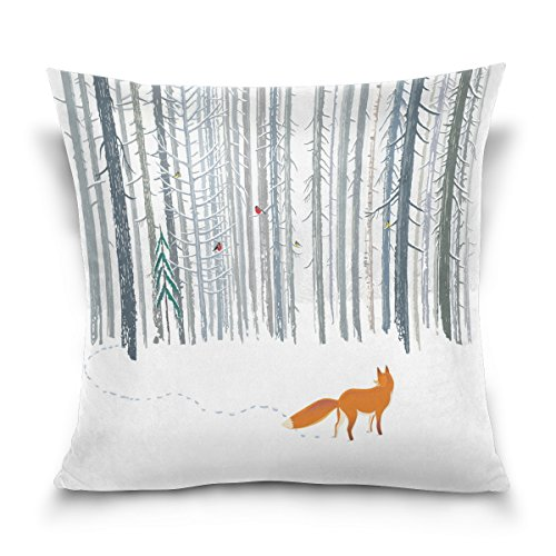 ALAZA Throw Pillow Case Decorative Cushion Cover Square Pillowcase, Winter Forest Landscape Fox Bird Sofa Bed Pillow Case Cover(20x20inch) Twin (Fox Square)
