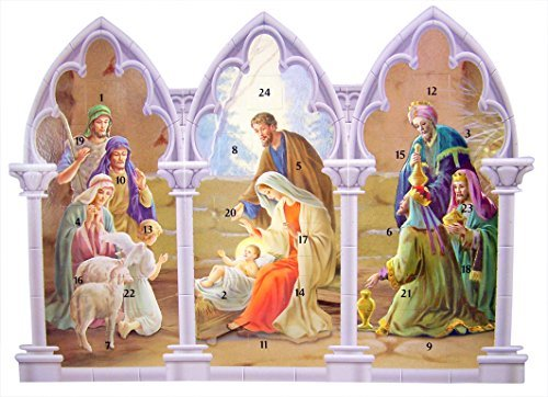 (Triptych Standing Nativity Advent Calendar with Die Cut Pull Tabs, 11 1/4 Inch (Single))