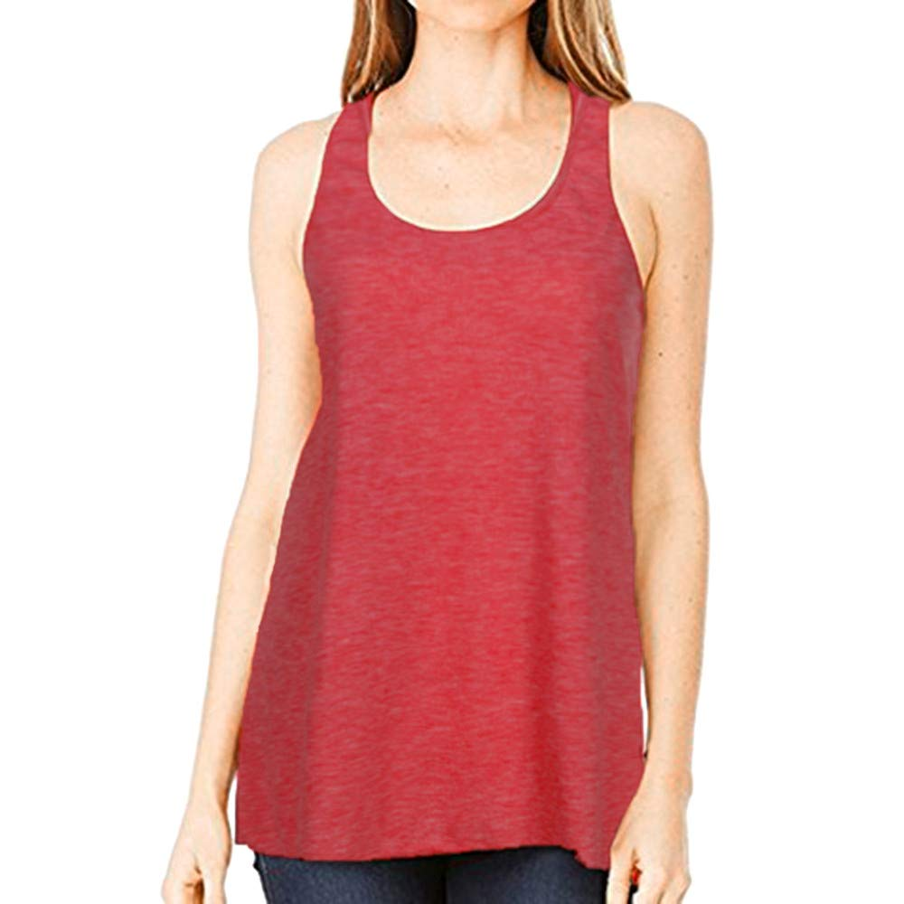 Women Sleeveless Sport Yoga Top Square Neck Vest Solid Flowy Racerback Tank Blouse Cami Safety Watermelon Red