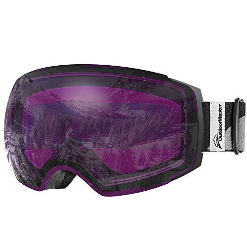 OutdoorMaster Ski Goggles PRO - Frameless, Interchangeable Lens 100% UV400 Protection Snow Goggles for Men & Women ( Black Frame VLT 30% Purple Lens with REVO Silver and Free Protective Case )