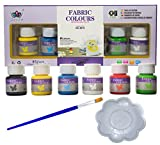Fabric Paint Set for Textile and Clothing with Brush and Palette - Permanent Waterproof Paint for Kids and Adults - Pack 6 Colours x 25ml - Customize your Clothes, Fabric Shoes and Home Accessories!