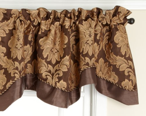 Style Master Renaissance Home Fashion Darby Layered Scalloped Valance with Cording, Café, 50 by 17-Inch