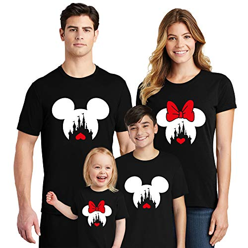 Natural Underwear Valentine's Day Family Trip Couple Crew Neck Shirts Trip Mouse T Shirts Black Women Medium]()