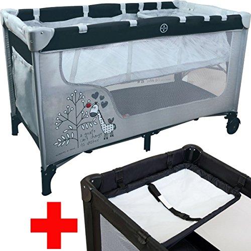 Reisebett / Kinderbett / Babybett / Laufstall GIRAFFE (Inklusive Wickelauflage / Einhang / Matratze) 120 x 60 cm